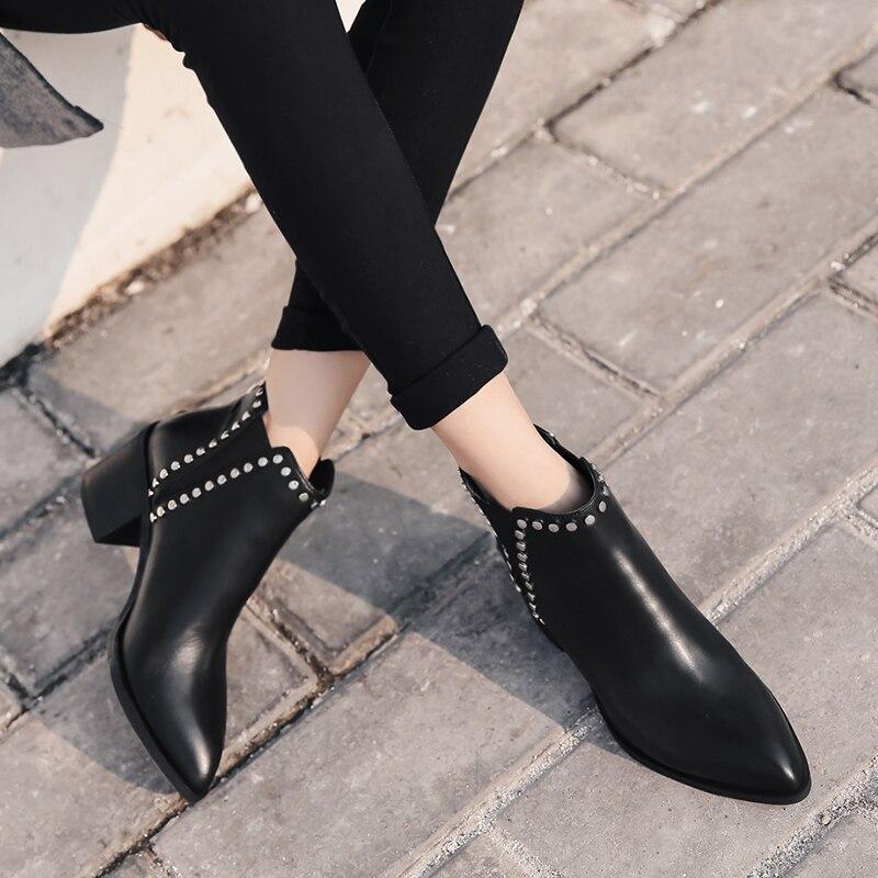 Donna in 2019 Frühling Frauen Aus Echtem Leder Chelsea Stiefel Thick High Heels Ankle Booties Mode Niet Handgemachte Damen Schuhe-in Knöchel-Boots aus Schuhe bei  Gruppe 2