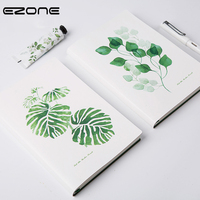 EZONE Frond Leaf A5 Notebook Thread bound Edition PU Cover Daily Agendas Note Book Travel Journal Diary White Note Pad Students