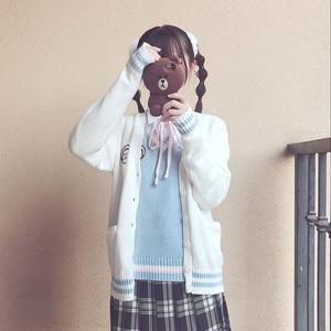 Image 4 - 2017新かわいいペンギンベビー刺繍カレッジスタイル日本姉妹jk制服ニットニットカーディガンセーターブルー & ホワイト