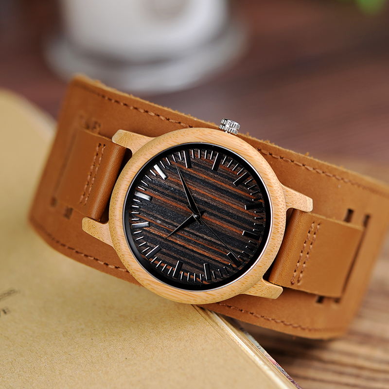 BOBO BIRD Brand Wristwatch Bamboo Wood Watch Men Genuine Leather Strap Ladies Wristwatch Relogio J-H08