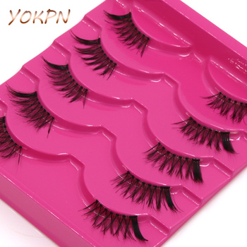 YOKPN Half False Eyelashes Natural Crisscross Messy Thick Soft Fake Eyelashes 100% Handmade Transparent Stems Makeup Lashes