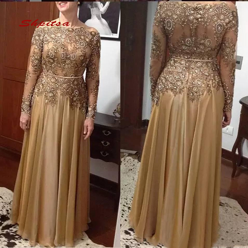 Gold Long Sleeves Lace Mother Of The Bride Dresses For Weddings Plus Size A Line Beaded Evening Groom Dinner Godmother Dresses