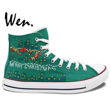 Wen Original Design Green Hand Painted Canvas Shoes Christmas Santa Claus Woman Man's High Top Canvas Sneakers for Gifts