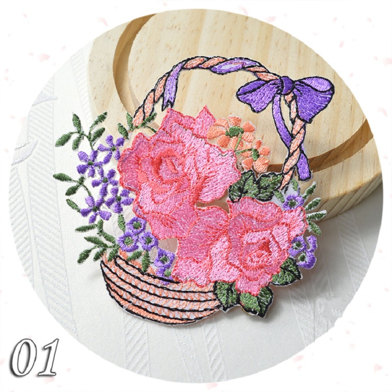 1PC~PINK FLOWER BASKET ~IRON ON EMBROIDERED APPLIQUE