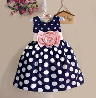 2015 New Stylish Kids Toddler Girls Princess Dress Sleeveless Polka Dots Bowknot Dress 2 Color Top