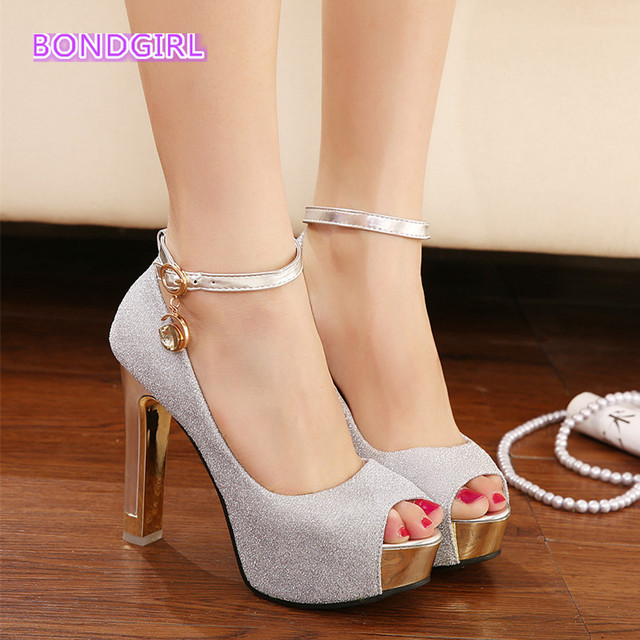 52d3a0568b0 Sexy Ankle Strap Peep Toe Metal Thick High Heels Shoes Wedding Shoes  Lavender Silver Size 34 to 39