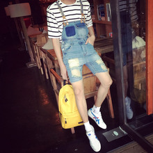 Summer Denim Bib male Japanese retro Siamese sling shorts slim jeans five pants.