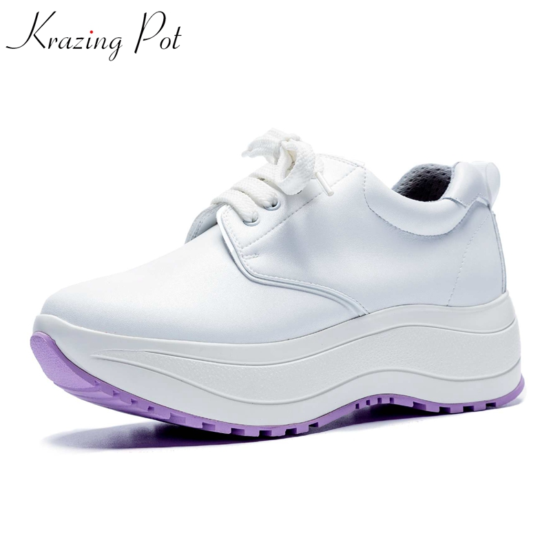 Krazing Pot cow leather med heels platform vulcanized shoes fashion design women solid color gladiator movie star sneakers L18
