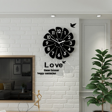 Creative Geometric Flower Black Wall Clock  Modern Design With Wall Stickers 3D Quartz Hanging Clocks Free Shipping Home Decor creative geometric flower black wall clock modern design with wall stickers 3d quartz hanging clocks free shipping home decor