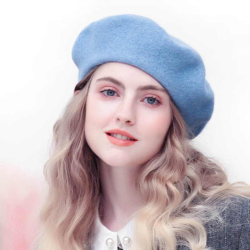 46a72ecf482 100% Wool Felt Beret Hat Classic Solid Color French Style Beret For Women  Lightweight Casual Fashion Girls Beanie Cap Hat Ladies-in Berets from  Apparel ...