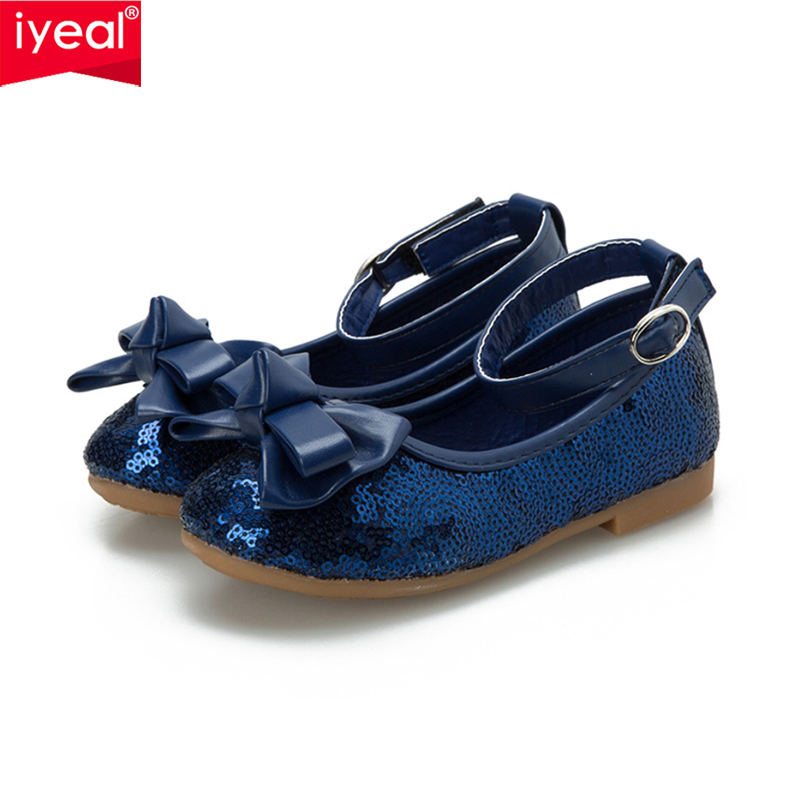 IYEAL Baby Girls Shoes For Children Princess Butterfly Sequins Flower Girl Glitter Formal Leather Kids Shoes Red/Navy Blue