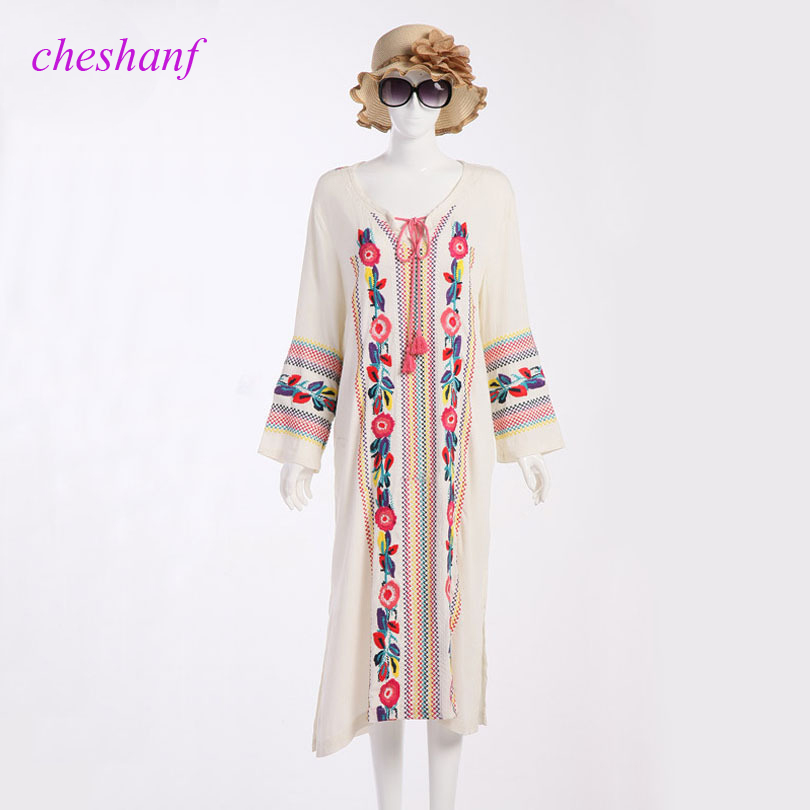 Buy white mexican embroidered dress and get free shipping on AliExpress.com