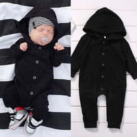 Toddler Infant Newborn Baby Boy Clothing Romper Long Sleeve Black Jumpsuit Playsuit Clothes Outfits 0 24M