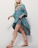 Plus Size Simplee Boho Floral Print Chiffon Split Long Dress Women Beach Summer V Neck Kimono