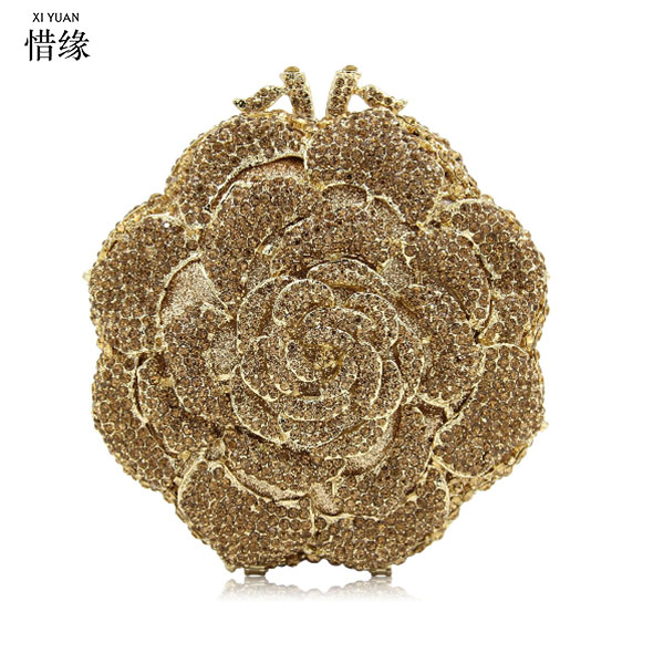 XIYUAN BRAND New Arrival Women pink Evening Bag Flower Crystal Clutch Top Quality Female Party Bags Ladies Wedding Purses gold xiyuan brand gold party purse bags women luxury silver crystal evening bags female pochette diamond ladies wedding clutch bags