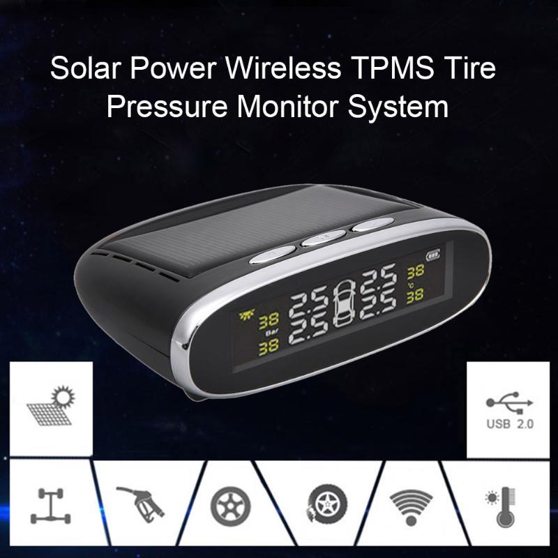 Système de surveillance de la pression des pneus TPMS de voiture sans fil à énergie solaire avec 4 capteurs internes systèmes d'alarme de sécurité automatique pression des pneus