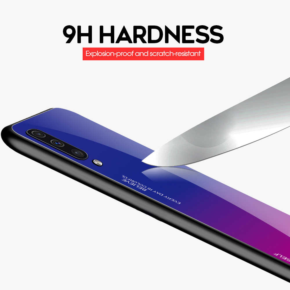 Чехлы из закаленного стекла для samsung Galaxy Note10 Pro A70 A50 A60 A40 A30 A20 A10 A10E A20E задний градиентный цветной бампер