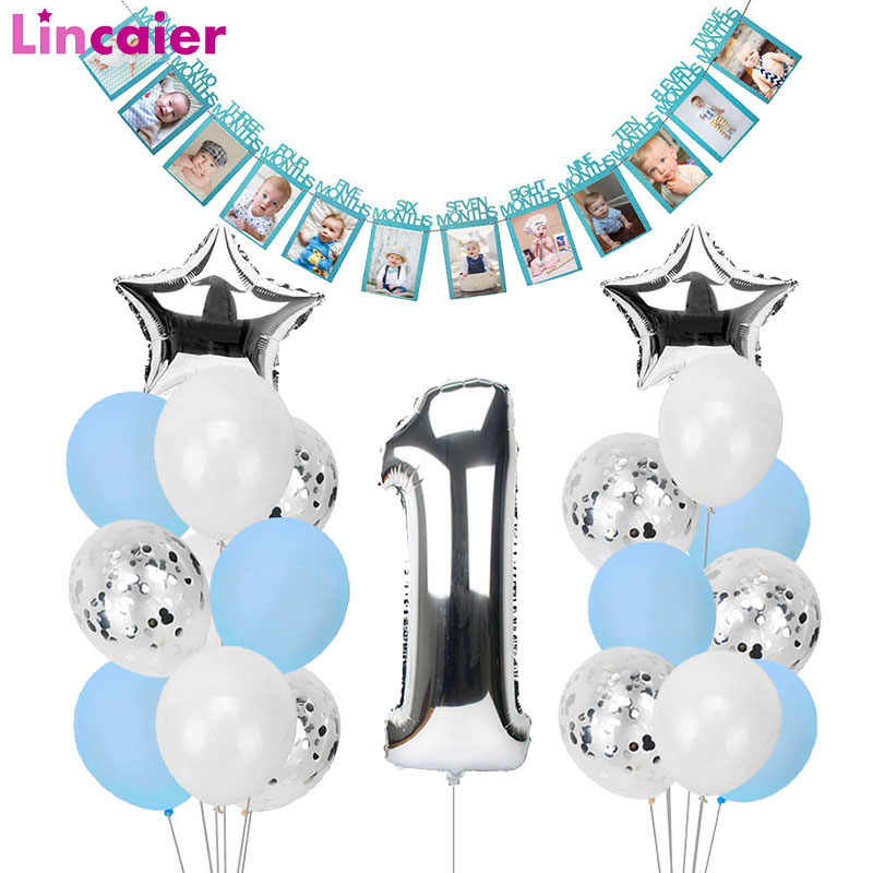 1st Happy Birthday Blue Silver Balloons Foil Number Balloons Banner First Baby Boy Party Decorations My 1 One Year Supplies