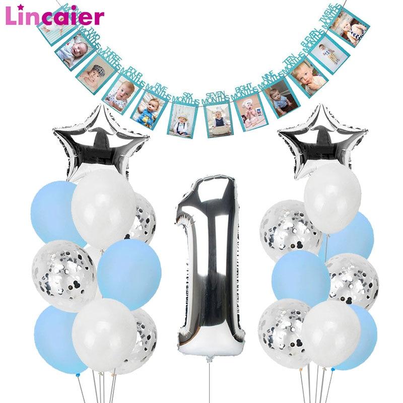 1. feliz aniversário azul balões de prata número da folha balões banner primeiro bebê menino festa decorações meu 1 um ano suprimentos