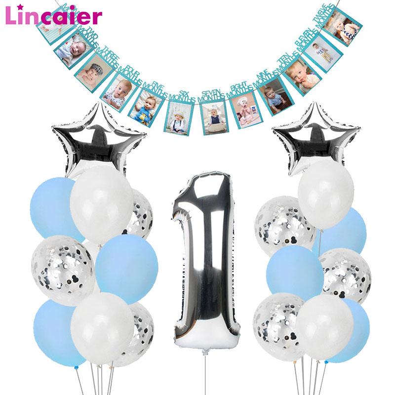 1st Happy Birthday Blue Silver Balloons Foil Number Balloons Banner First Baby Boy Party Decorations My <font><b>1</b></font> One Year Supplies image