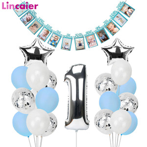 Image 1 - 1st Happy Birthday Blue Silver Balloons Foil Number Balloons Banner First Baby Boy Party Decorations My 1 One Year Supplies