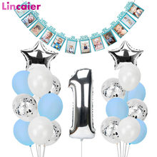 1st Happy Birthday Blue Silver Balloons Foil Number Balloons Banner First Baby Boy Party Decorations My 1 One Year Supplies(China)