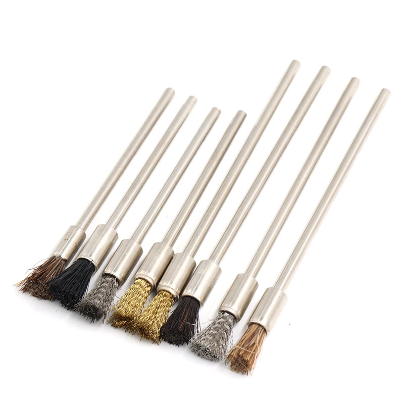 ZtDpLsd 1Pcs 3.0mm Shank 75mm/100mm Steel Wire Brushes Dremel For Rotary Tool Polishing Brush Polish Metal Electric Grinder Tool