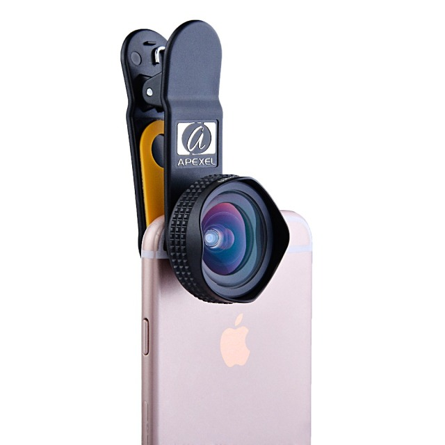 APEXEL Professional 4K Wide lens 0.6X HD super wide angle lens and 12-24X macro lens for iPhone 8 7s plus HTC cellphone 1824X 1