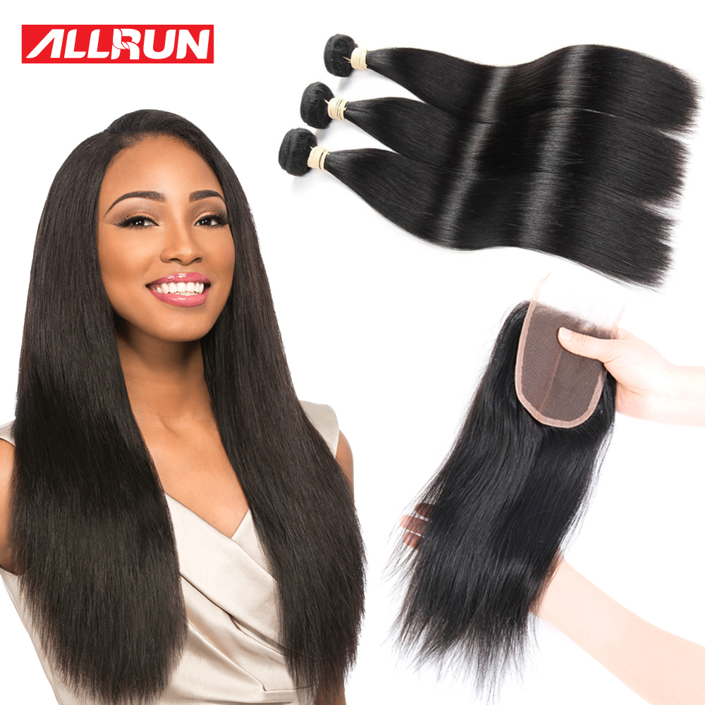 Peruvian Virgin Hair With Closure 3/4 Bundles with closure Peruvian Straight Hair With Closure 4*4 lace Human Hair With Closure