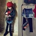 2016 Novo Chegada Meninas Outono Patchwork Dois Pics Leggings Jeans Crianças Algodão Skinny Pantskirts Crianças Jeans Leggings, LC371