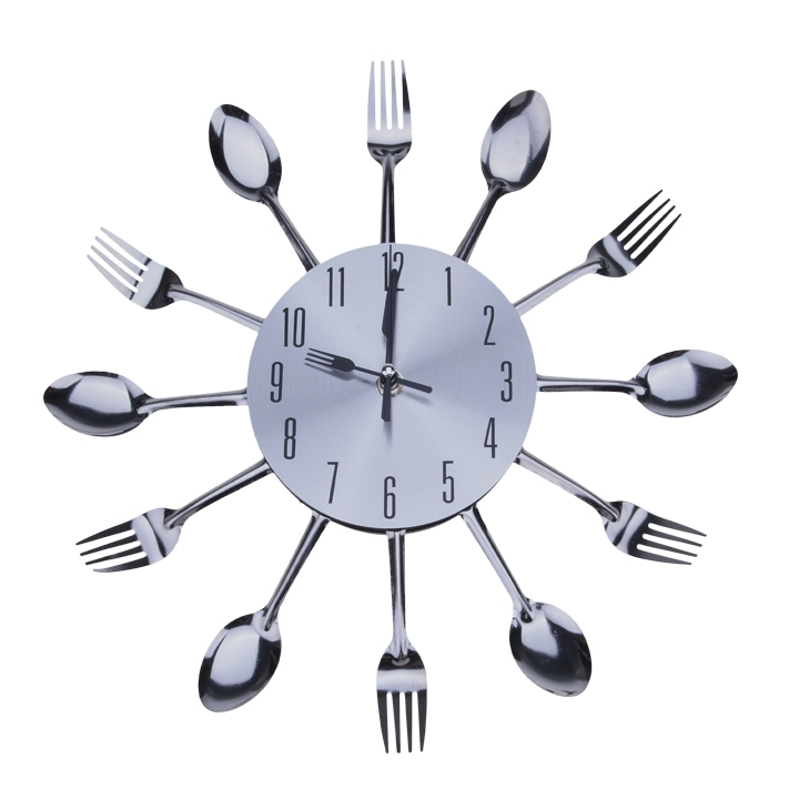 Cool Kitchen Clocks Part - 33: Cool Stylish Home Decoration Wall Clock Modern Design Silver Kitchen  Cutlery Utensil Watch Wall Clock Spoon Fork Home Decor ZDD-in Wall Clocks  From Home ...