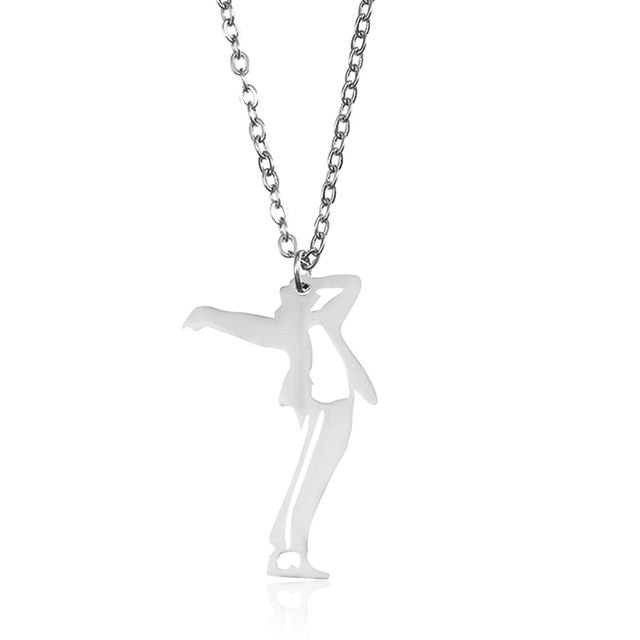 Michael Jackson Pendant Necklace Stand Up Dance Clic Posture Stainless Steel Gold Unique Charm Women Men Fashion Jewelry
