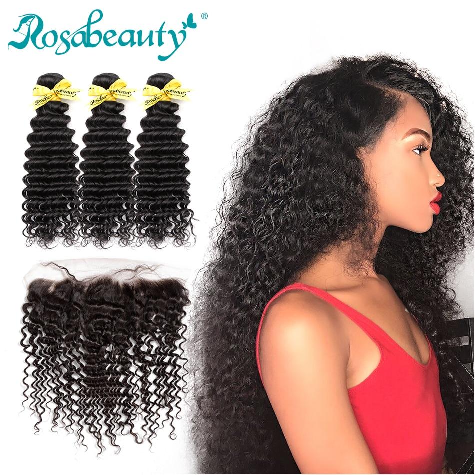 Rosabeauty 3 Bundles Deep Wave Bundles With Lace Frontal Closure 8A Brazilian Hair Weave Remy Hair