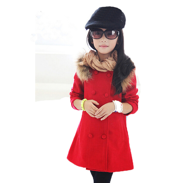 New Fashion Baby Girl Coat Jacket Female Children Outwear Coat Winter Red Jackets Korean Kids Double-breasted Wool Coat Jacket 6