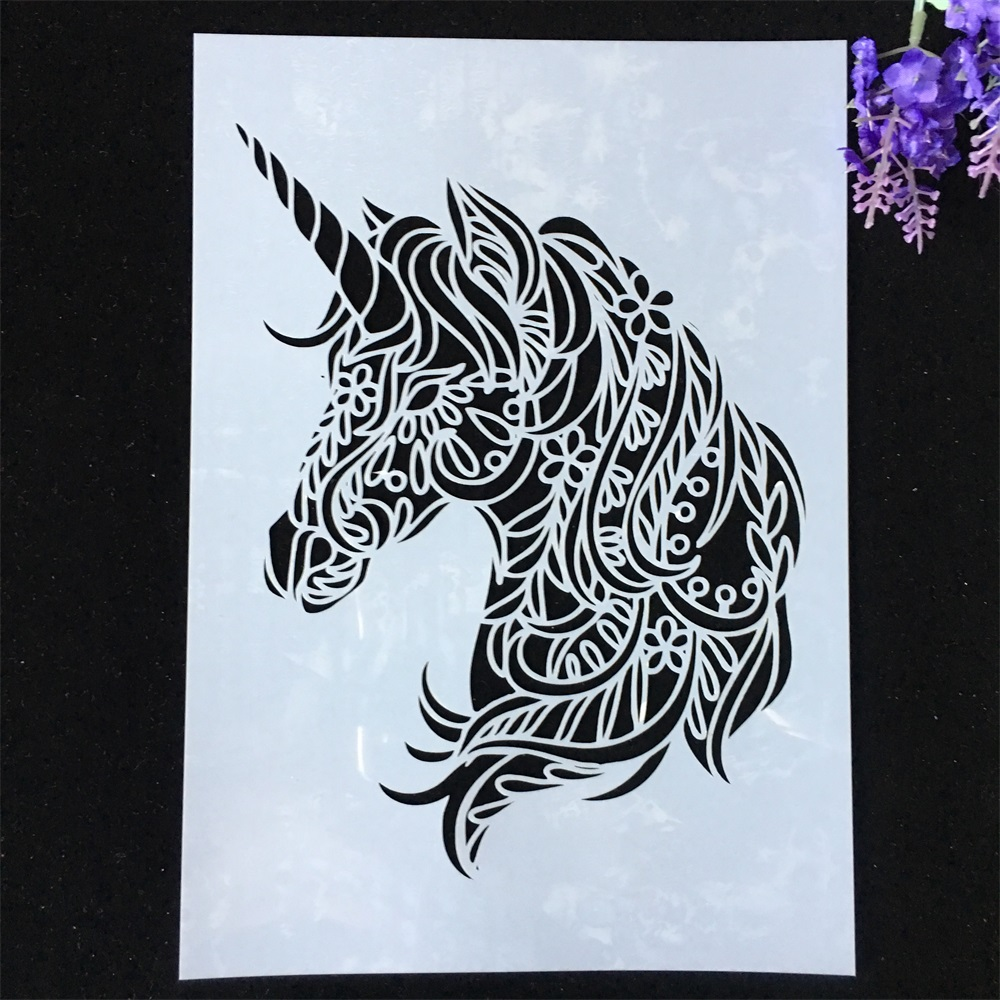 29*21cm A4 Unicorn DIY Layering Stencils Wall Painting Scrapbook Coloring Embossing Album Decorative Card Template