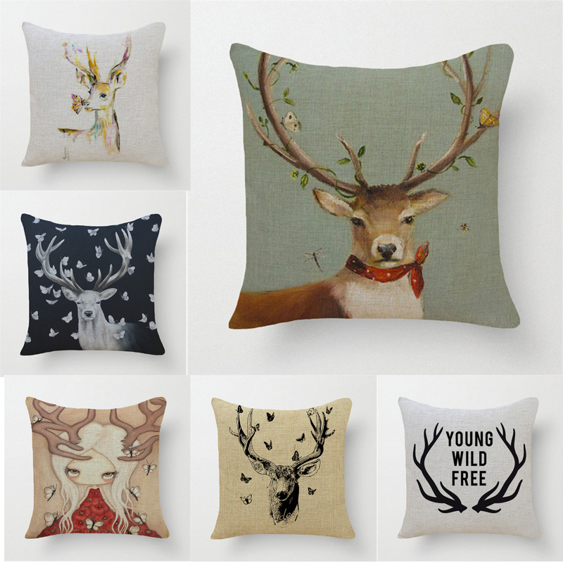 Decorative throw pillows case deer animals reindeer cotton linen seat cushion cover for sofa home almofadas funda cojines
