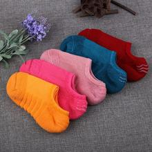 Gratis Verzending 20 stks = 10 paren/partij katoen Womens snoep kleuren onzichtbare Sokken, antislip, zomer slipper goede qualtiy enkel sox