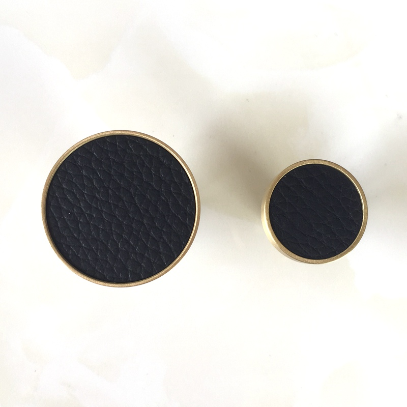 Скандинавская латунь+ кожа круглая одежда подвесной крючок крыльцо/гостиная/кабинет декоративное пальто настенный Hook-1Pack - Цвет: Black