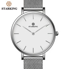 STARKING Fashion Brand Women Watch Simple Dress Quartz Watch Steel Mesh Strap Ultra-thin Female Wristwatch vintage timepieces