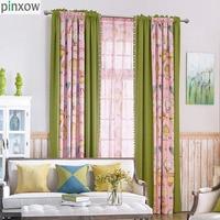 Printing Children Window Curtains Pink Thick Girls Bedroom Curtain Fabrics Green Boys Drapes Kids Room Balloon