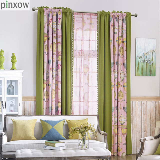 Lace Bedroom Window Curtains Children Room Semi Blackout Baby Kid Home Panels Green Pink Boy