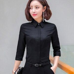 Image 4 - Formal algodão camisa feminina moda ol magro meia manga blusa 2019 verão nova carreira de negócios escritório senhoras trabalho mais tamanho topos