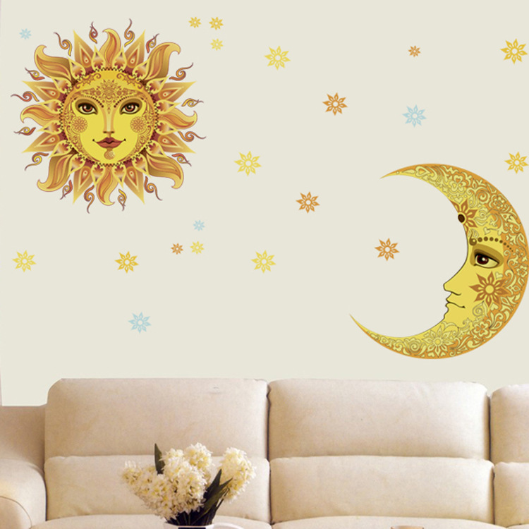 large unique sun moon star flower vinyl wall sticker home decor decoration wall decal pvc. Black Bedroom Furniture Sets. Home Design Ideas