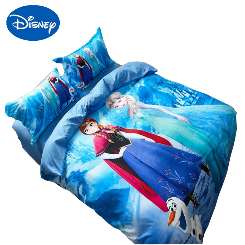 Home & Garden Disney Frozen Comforter Cover Set Sanding Cotton Bed Linens Princess Elsa Anna Print Cartoon Bedclothes Single Twin Queen Size