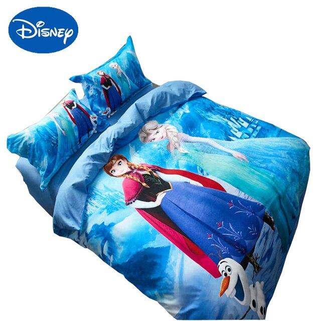 blue Disney Frozen bedding sets cartoon Princess Elsa Anna comforter cover sinlgle queen size girl bed linens 3d flat sheet soft