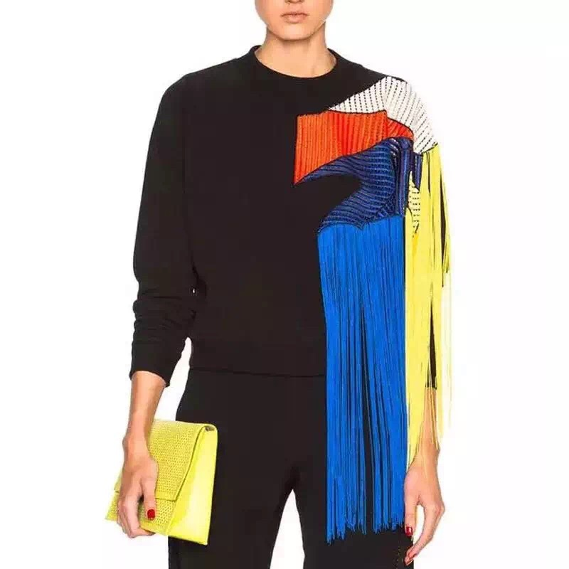 Femmes hiver automne gland arc-en-ciel motif Patchwork sweat-shirt noir o-cou manches longues maille polaire pull à capuche FS0497