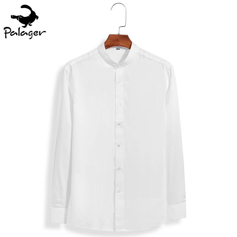815b782ba Palager Mens Dress Shirts Cotton Sateen Band Collar Silk Shirt Men Slim Fit  Long Sleeve Camisa Social Masculina 2017 Autumn 1854