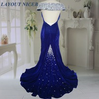 Real Image New Arrival Crystals 2016 Mermaid Evening Dress Royal Blue Velvet Long Formal Gowns Robe