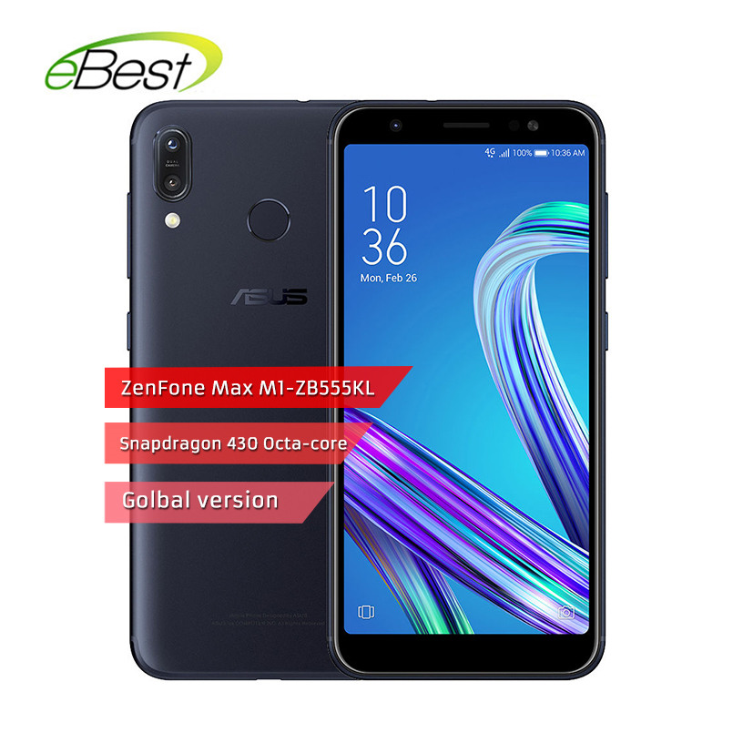 "Global version ASUS ZenFone Max M1 ZB555KL Smartphone  5.5"" Snapdragon 430 Quad Core 3GB RAM 32GB ROM 4000mAh Mobile Phone"