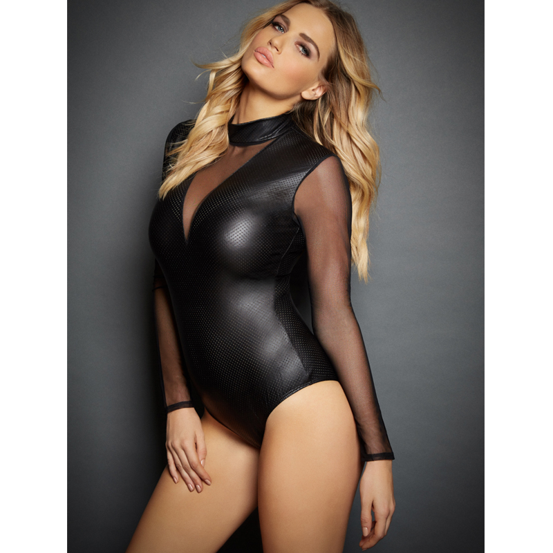 Black Mesh Long Sleeve High Neck Leather Bodysuit Plus Size Female Lingerie Leather Teddies XXL Sexy Fitted Bodysuit Nightclub plus size women in leather